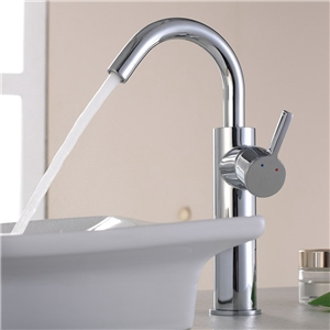 Curved Chrome Basin Faucet Lavatory Countertop Sink Tap