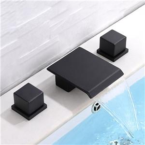 Matte Black Square Basin Faucet Waterfall Widespread Bathroom Sink Tap