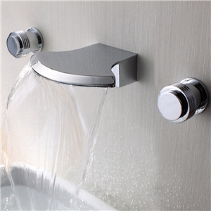 Wall Mount Basin Faucet Modern Waterfall Bathroom Tap in Chrome