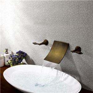 Wall Mount Waterfall Faucet Antique Brass Bathroom Basin Tap
