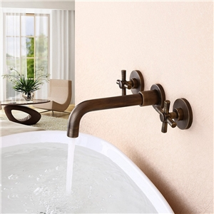 Wall Mounted Face Basin Faucet Double Handle Bathroom Sink Tap in Antique Brass