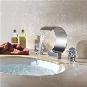 Moon Widespread Basin Faucet Waterfall Bathroom Sink Tap with Crystal Handles