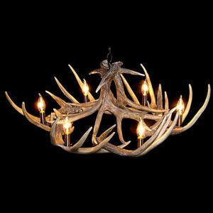 (In Stock)Rustic Cascade Chandelier Antler Chandelier Antler Lighting Artistic Featured with 6 Lights Dining Room Living Room Bedroom Ceiling Lights