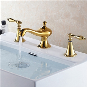 Unusual Luxury Basin Faucet Widespread Gold Bathroom Sink Tap