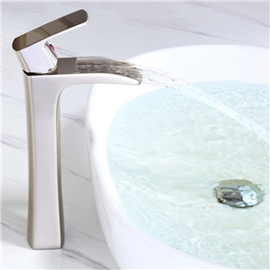 High Waterfall Countertop Faucet Solid Brass Bathroom Sink Tap