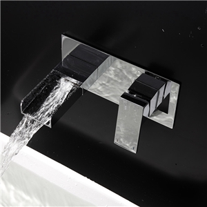 Contemporary Waterfall Basin Faucet Wall Mount Bathroom Sink Tap in Chrome