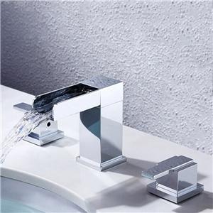 Square Waterfall Basin Faucet Modern Widespread Bathroom Sink Tap