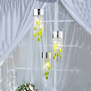 Artistic Crystal Pendant Lights with Green Decorations and Glass Shades