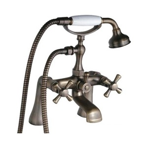 Antique Brass Tub Faucet Deck Mounted Bathtub Tap with Ceramic Hand Shower