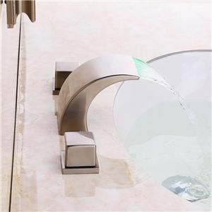 Brushed Nickel LED Tub Faucet Modern Half Curvy Moon Shape Bathtub Tap