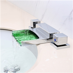 Specail LED Tub Faucet Dustpan-shaped Widespread Waterfall Bathtub Tap
