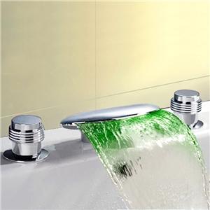 Flat Widespread LED Tub Faucet Chrome Waterfall Bathtub Tap