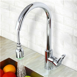 Modern LED Kitchen Faucet Chrome Kitchen Tap with Pull Down Sprayer