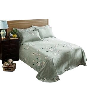 Small Flower Bedding Set Green Soft Bedclothes Pure Cotton 4pcs Duvet Cover Set