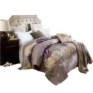 Plants Pattern Bedding Set Soft Skin-friendly Bedclothes Pure Cotton 4pcs Duvet Cover Set