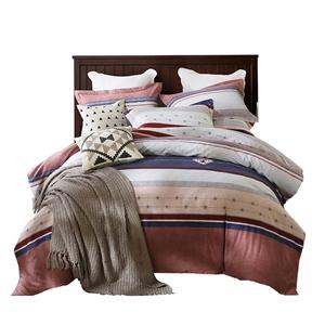 Wide Stripes Bedding Set Soft Skin-friendly Bedclothes Pure Cotton 4pcs Duvet Cover Set