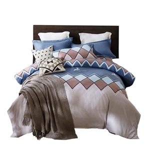 Diamond Pattern Blue Bedding Set Soft Skin-friendly Bedclothes Pure Cotton 4pcs Duvet Cover Set