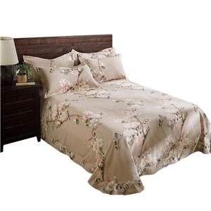 Luxurious Bedding Set Flower and Bird Bedclothes Soft Pure Cotton 4pcs Duvet Cover Set