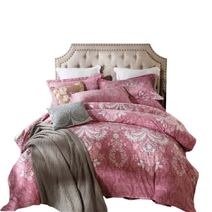 Bohemia Style Bedding Set Pink Floral Bedclothes Pure Cotton 4pcs Duvet Cover Set