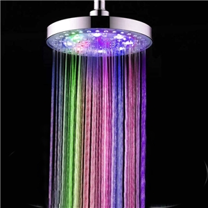 Brass LED Shower Head 7 Colors Round Rain Shower Head 10 Inch