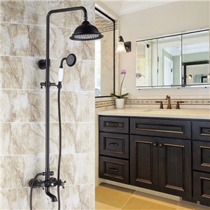 Antique Black Shower System Classic Exposed Shower Faucet Set