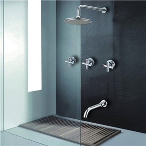 Modern In-wall Shower Faucet Chrome Rainfall Shower System with Tub Spout