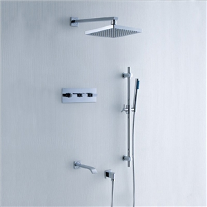 In-wall Chrome Shower Faucet Modern Shower System with Slide Bar Handshower