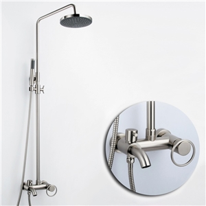 Brushed Nickel Shower System Modern Round Shower Faucet with Tub Spout