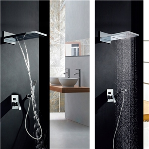 Luxury In-wall Shower Faucet Waterfall Rain Shower System