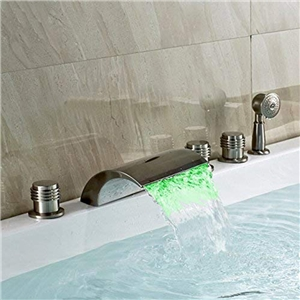 Modern LED Tub Faucet Brushed Nickel Waterfall Bathtub Tap with Hand Shower