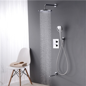 Thermostatic Shower Faucet Chrome In-Wall Bathroom Shower Faucet