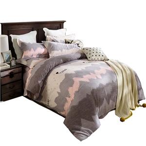 Soft Skin-friendly Bedding Set Wavy Line Bedclothes Pure Cotton 4pcs Duvet Cover Set