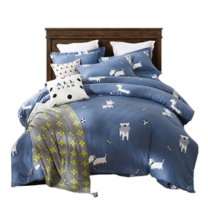 Lovely Puppy Bedding Set Skin-friendly Soft Bedclothes Pure Cotton 4pcs Duvet Cover Set