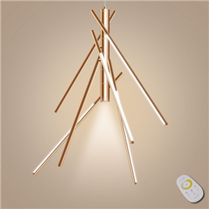 Metal Pendant Light Rosy Golden Bamboo Point Pendant Light Decorative Light with Remote Control