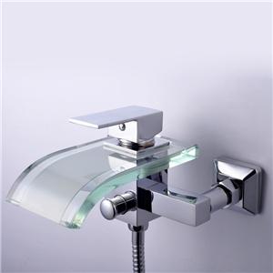 Modern Glass Tub Faucet Waterfall Wall Mount Bathtub Tap