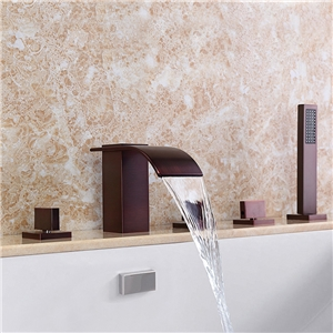 Elegant ORB Tub Faucet Solid Brass Waterfall Deck Mount Bathtub Tap with Handheld Shower