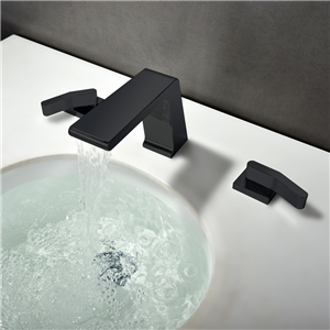 Solid Black Bathroom Sink Faucet Fillet Right-angled Waterfall Sink Tap