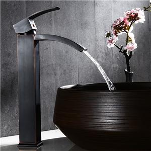 Antique Black Sink Faucet Square Solid Brass Vessel Sink Tap