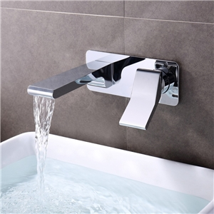 Solid Brass Bathroom Sink Faucet Chrome Wall Mount Waterfall Sink Tap