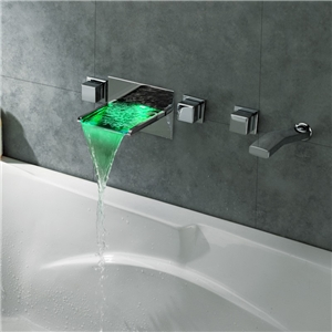 Wall Mount Tub Faucet Chrome LED Waterfall Bathtub Tap