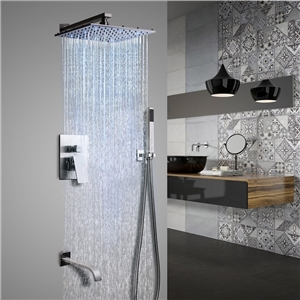 LED Brushed Nickel Shower Faucet Wall Mount Stainless Steel Rain Shower Faucet Set