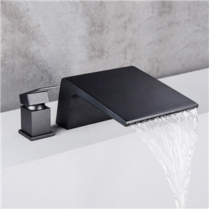 Unusual Deck Mount Tub Faucet Contemporary Waterfall Bathtub Tap Solid Black/Chrome