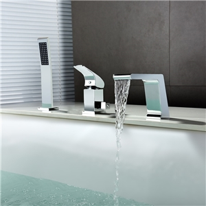 Modern Chrome Tub Faucet Deck Mounted Bathtub Tap with Handheld Shower