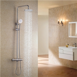 Brushed Nickel Thermostatic Shower Faucet 304 Stainless Steel Shower System