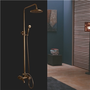 Antique Brass Shower Faucet Wall Mount Rain Shower System with Tub Tap