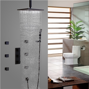 Solid Black Rainfall Shower Faucet Square Wall Mount Shower Faucet Set with Ceiling Mount Shower Head