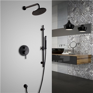 Elegant Solid Brass Shower Faucet Wall Mount Round Rainfall Shower System
