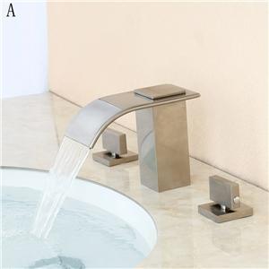 Unique Waterfall Sink Faucet Solid Brass Widespread Bathroom Sink Tap Brushed Nickel/ORB