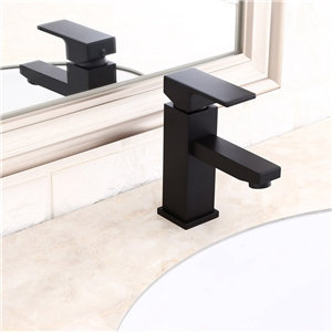 Black Square Sink Faucet Modern Solid Brass Bathroom Sink Tap