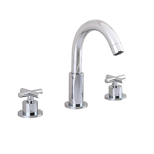 High Curved Sink Faucet Widespread Chrome Bathroom Sink Tap